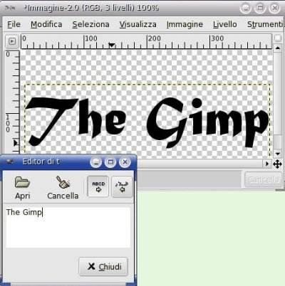 Gimp tutorial lo strumento testo for Disegno una finestra testo